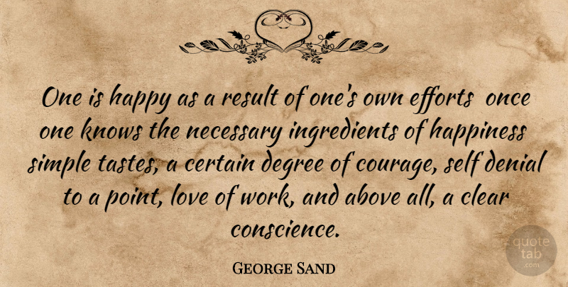George Sand Quote About Above, Certain, Clear, Degree, Denial: One Is Happy As A...