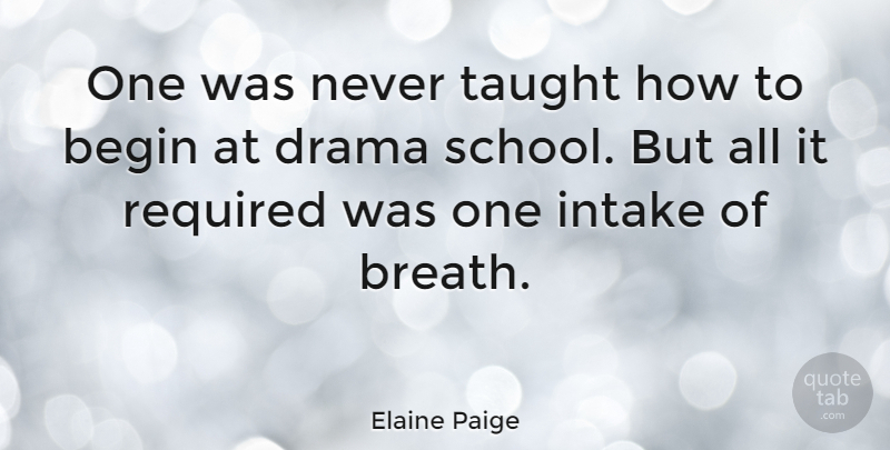 Elaine Paige Quote About Drama, School, Taught: One Was Never Taught How...