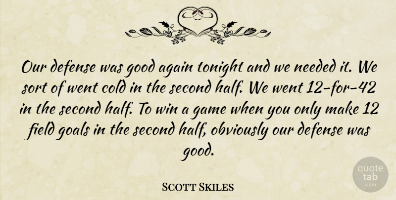 Scott Skiles Quote About Again, Cold, Defense, Field, Game: Our Defense Was Good Again...