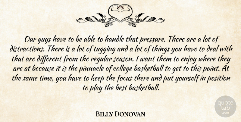 Billy Donovan Quote About Basketball, Best, College, Deal, Enjoy: Our Guys Have To Be...