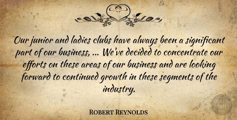 Robert Reynolds Quote About Areas, Business, Clubs, Continued, Decided: Our Junior And Ladies Clubs...