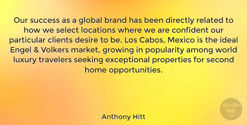 Anthony Hitt Quote About Among, Brand, Clients, Confident, Desire: Our Success As A Global...