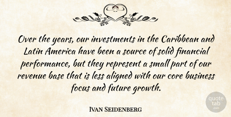 Ivan Seidenberg Quote About Aligned, America, Base, Business, Caribbean: Over The Years Our Investments...