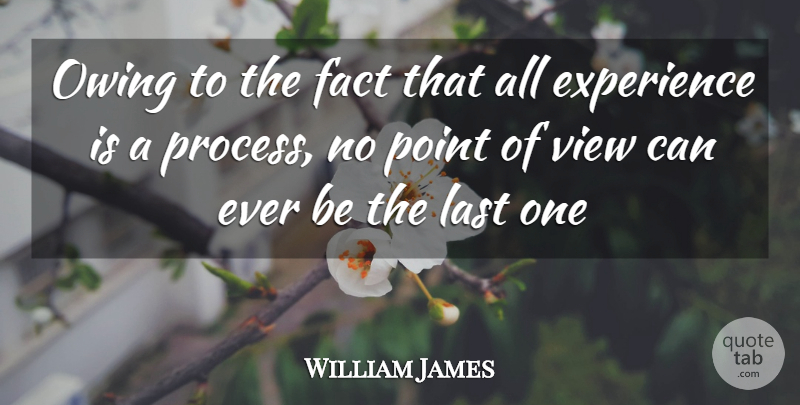 William James Owing To The Fact That All Experience Is A Process No Point Quotetab