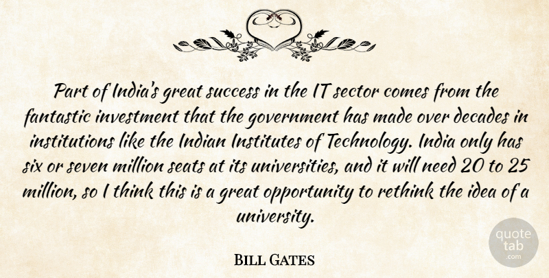 Bill Gates Quote About Decades, Fantastic, Government, Great, India: Part Of Indias Great Success...