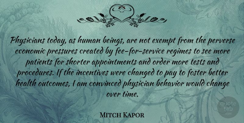 Mitch Kapor Quote About Behavior, Change, Changed, Convinced, Created: Physicians Today As Human Beings...
