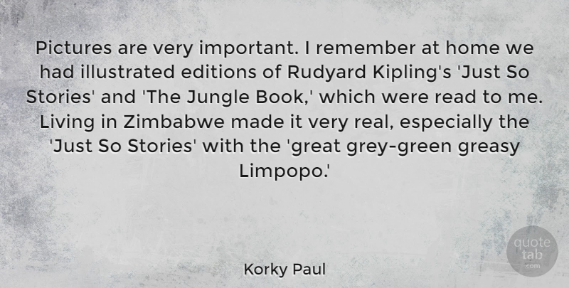Korky Paul Quote About Great, Home, Jungle, Living, Pictures: Pictures Are Very Important I...