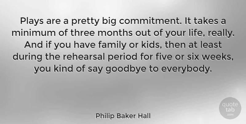 Philip Baker Hall Quote About Family, Five, Life, Minimum, Months: Plays Are A Pretty Big...