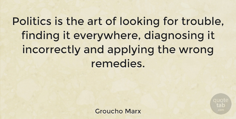 Groucho Marx Politics Is The Art Of Looking For Trouble Finding It