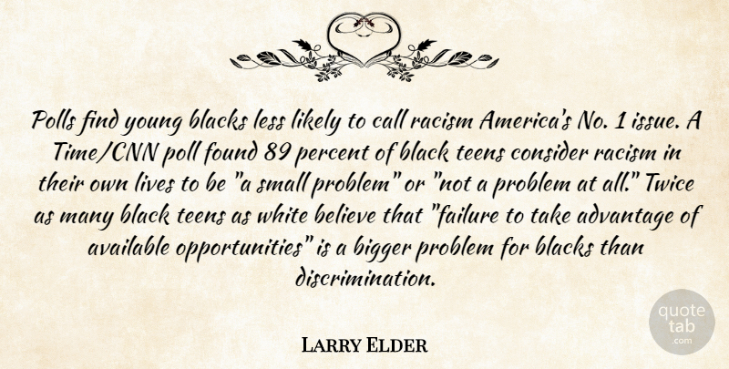Larry Elder Quote About Advantage, Available, Believe, Bigger, Blacks: Polls Find Young Blacks Less...