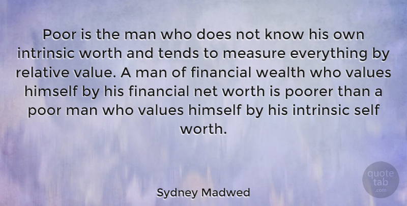 Sydney Madwed Quote About American Businessman, Himself, Intrinsic, Man, Measure: Poor Is The Man Who...