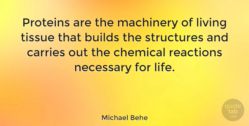 Michael Behe Quote About Tissues, Chemicals, Reactions: Proteins Are The Machinery Of...