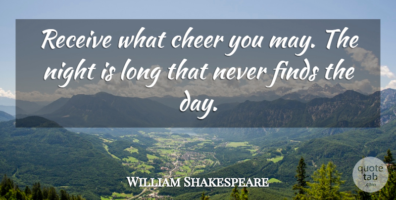 William Shakespeare Quote About Cheer, Night, Long: Receive What Cheer You May...