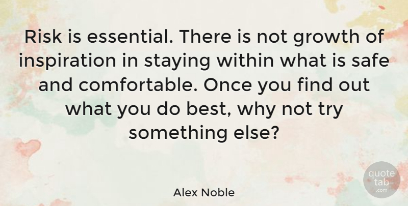 Alex Noble Quote About French Novelist, Growth, Safe, Staying, Within: Risk Is Essential There Is...
