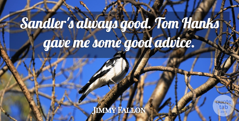 Jimmy Fallon Quote About Advice, Good Advice, Toms: Sandlers Always Good Tom Hanks...