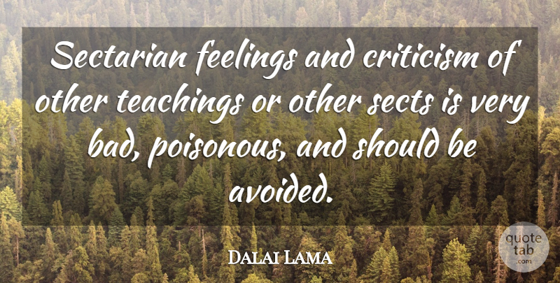 Dalai Lama Quote About Teaching, Feelings, Criticism: Sectarian Feelings And Criticism Of...