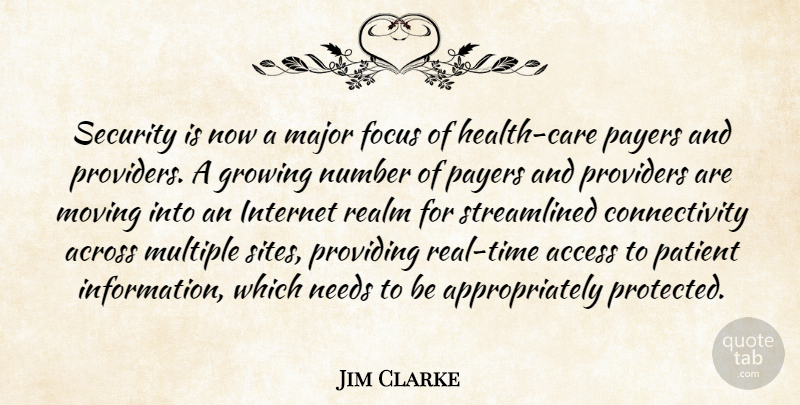 Jim Clarke Quote About Access, Across, Focus, Growing, Internet: Security Is Now A Major...