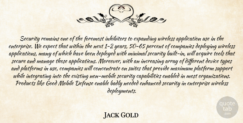 Jack Gold Quote About Acquire, Array, Badly, Companies, Defense: Security Remains One Of The...