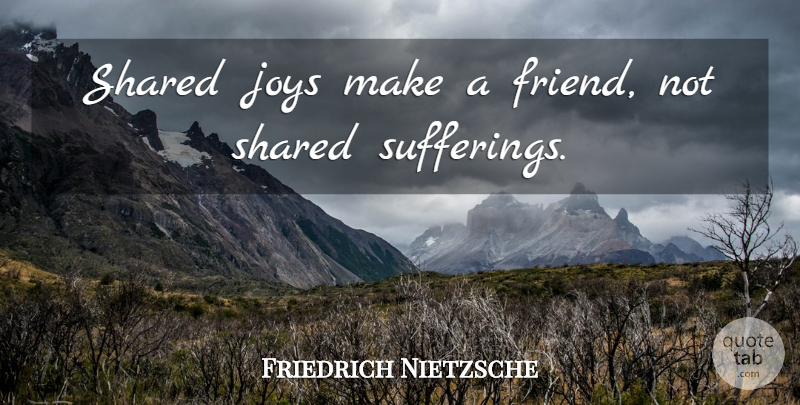 Friedrich Nietzsche Quote About Inspirational, Joy, Suffering: Shared Joys Make A Friend...