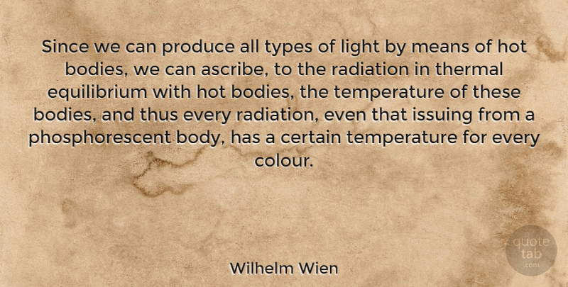 Wilhelm Wien Quote About Certain, Hot, Means, Produce, Radiation: Since We Can Produce All...