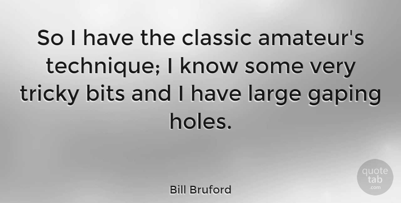 Bill Bruford Quote About Technique, Classic, Holes: So I Have The Classic...