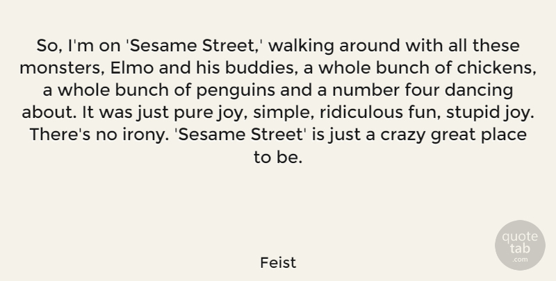 Feist Quote About Fun, Crazy, Stupid: So Im On Sesame Street...