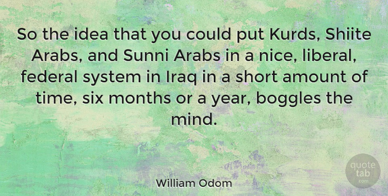 William Odom Quote About American Soldier, Amount, Arabs, Federal, Iraq: So The Idea That You...