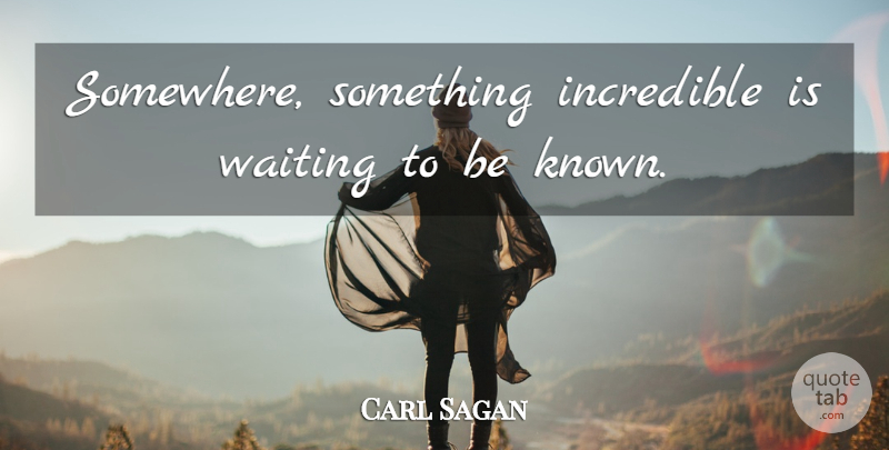 Carl Sagan Quote About Positive, Science, Waiting: Somewhere Something Incredible Is Waiting...