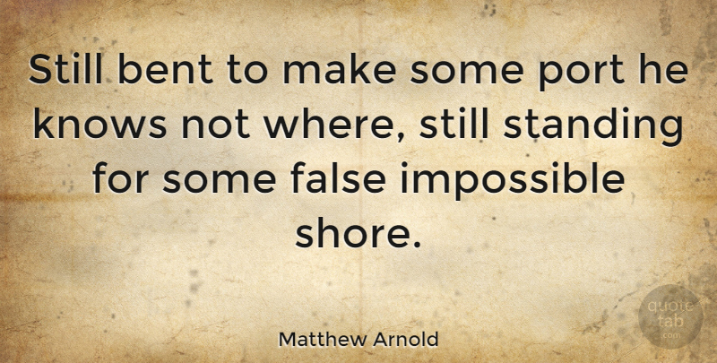 Matthew Arnold Quote About Hope, Impossible, Standing Alone: Still Bent To Make Some...