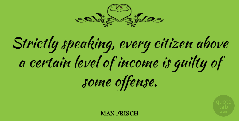 Max Frisch Quote About House, Citizens, Levels: Strictly Speaking Every Citizen Above...