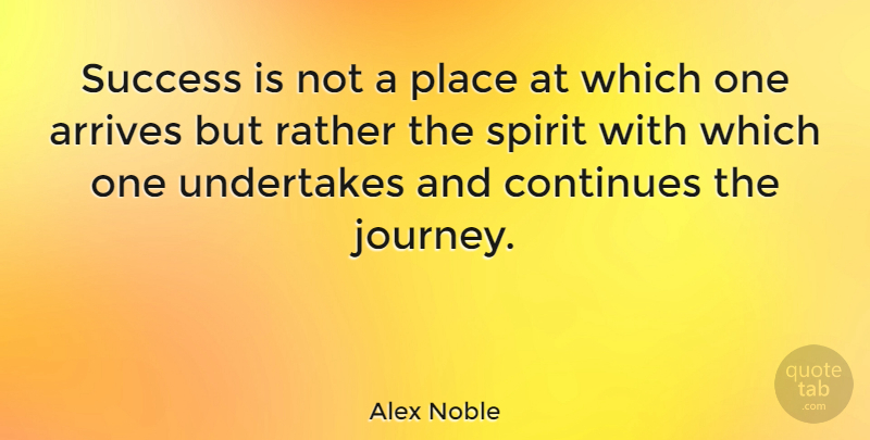 Alex Noble Quote About Continues, French Novelist, Journey, Rather, Success: Success Is Not A Place...