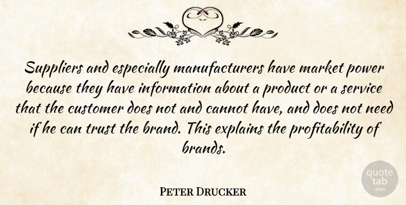 Peter Drucker Suppliers And Especially Manufacturers Have Market