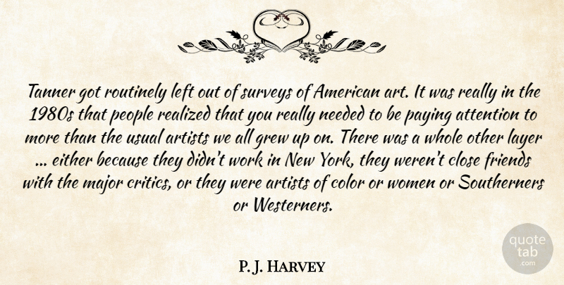 P. J. Harvey Quote About Artists, Attention, Close, Color, Either: Tanner Got Routinely Left Out...