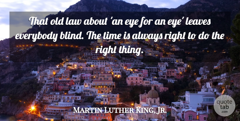 Martin Luther King, Jr. Quote About Inspirational, Change, Time: That Old Law About An...