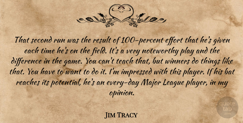 Jim Tracy Quote About Bat, Difference, Effort, Given, Impressed: That Second Run Was The...