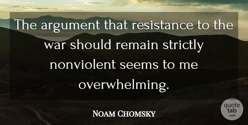 Noam Chomsky Quote About War, Resistance, Argument: The Argument That Resistance To...