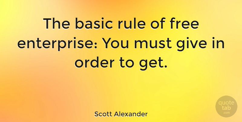 Scott Alexander Quote About American Author, Basic: The Basic Rule Of Free...