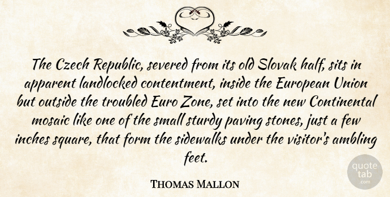 Thomas Mallon Quote About Apparent, Czech, European, Few, Form: The Czech Republic Severed From...