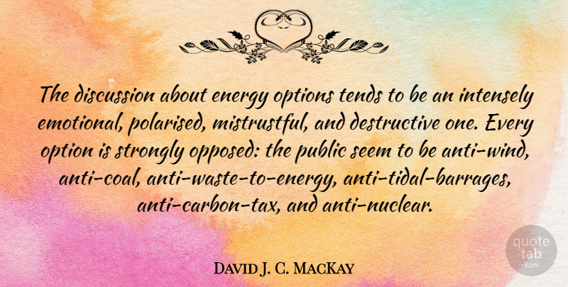 David J. C. MacKay Quote About Discussion, Intensely, Options, Public, Strongly: The Discussion About Energy Options...