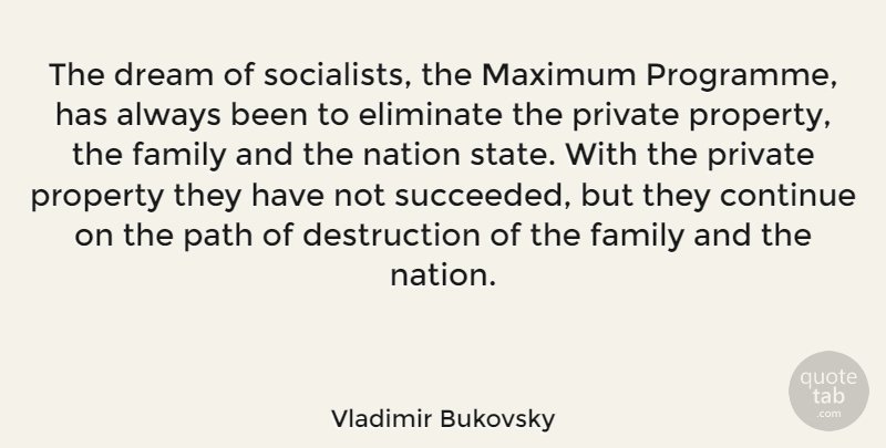Vladimir Bukovsky Quote About Continue, Dream, Eliminate, Family, Maximum: The Dream Of Socialists The...