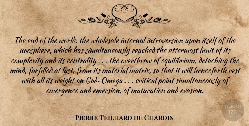 Pierre Teilhard De Chardin The End Of The World The Wholesale