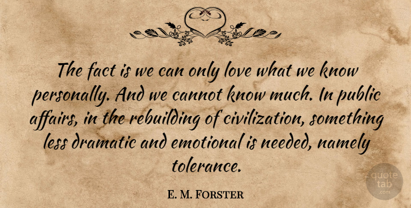 E. M. Forster Quote About Emotional, Civilization, Tolerance: The Fact Is We Can...