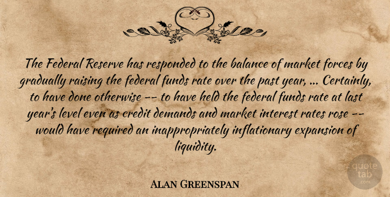Alan Greenspan Quote About Balance, Credit, Demands, Expansion, Federal: The Federal Reserve Has Responded...