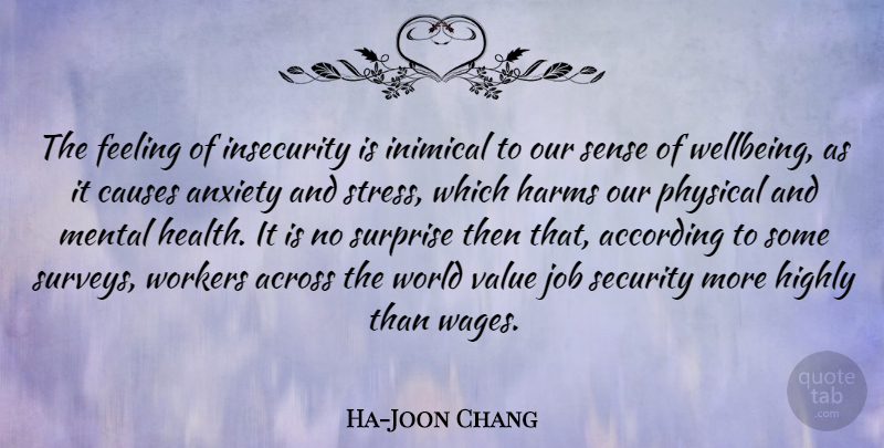 Ha-Joon Chang Quote About According, Across, Causes, Feeling, Harms: The Feeling Of Insecurity Is...
