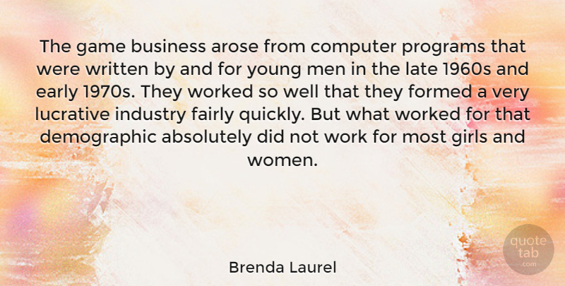 Brenda Laurel Quote About Absolutely, Business, Computer, Early, Fairly: The Game Business Arose From...