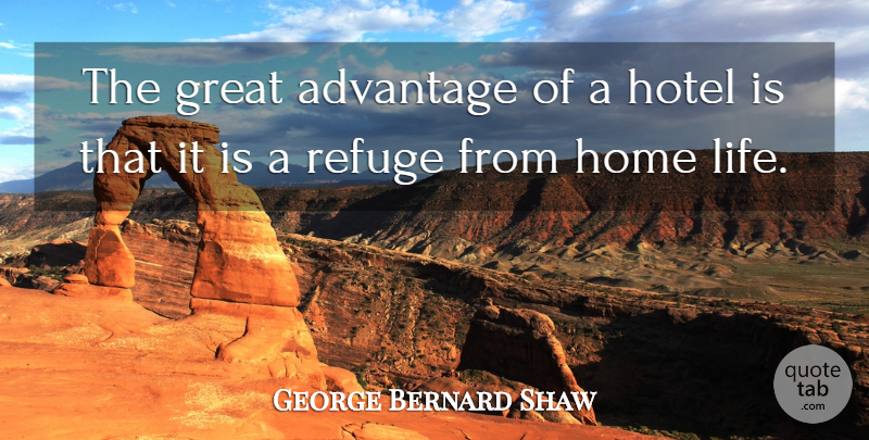 George Bernard Shaw Quote About Life, Travel, Home: The Great Advantage Of A...