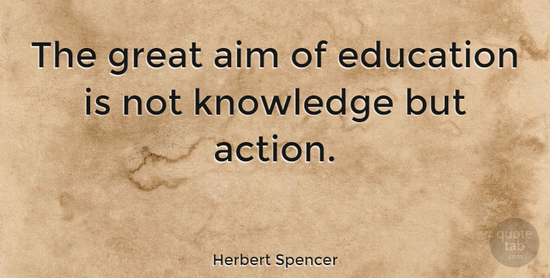 Herbert Spencer Quote About Inspirational, Education, Learning: The Great Aim Of Education...