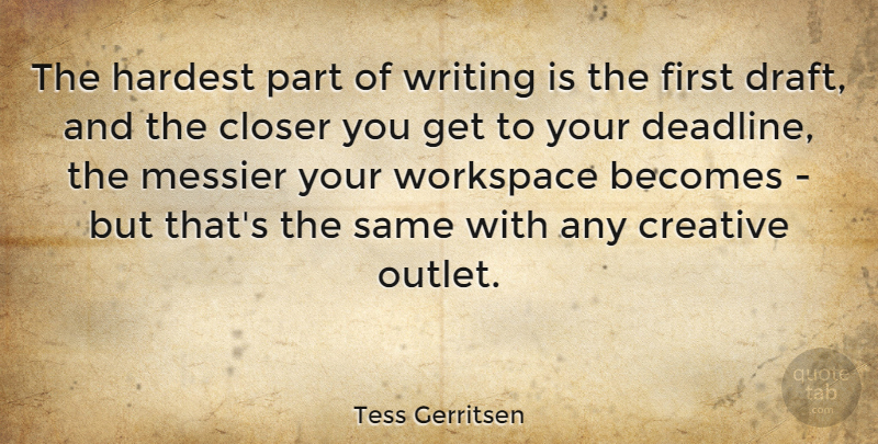 Tess Gerritsen Quote About Becomes, Closer, Hardest: The Hardest Part Of Writing...