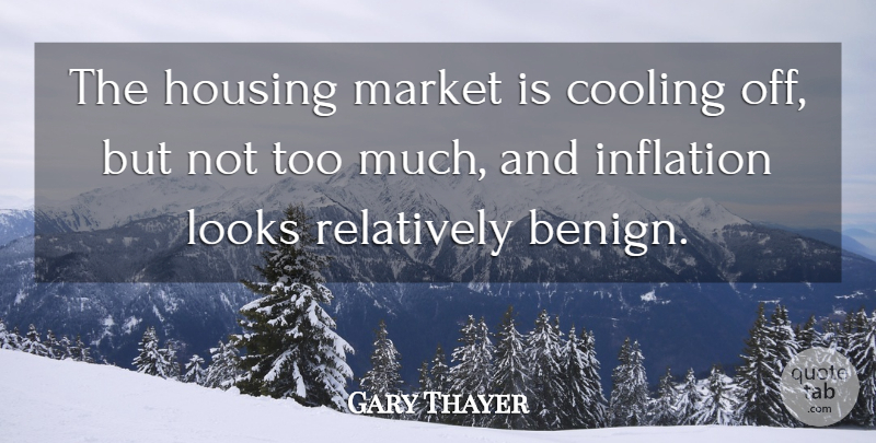 Gary Thayer Quote About Cooling, Housing, Inflation, Looks, Market: The Housing Market Is Cooling...