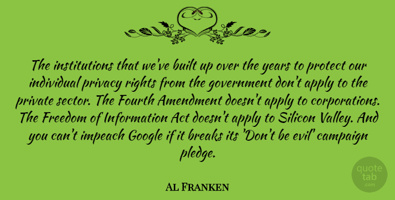 Al Franken Quote About Rights, Government, Years: The Institutions That Weve Built...
